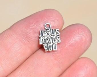 BULK 50  Silver Jesus Loves You Charms SC1927