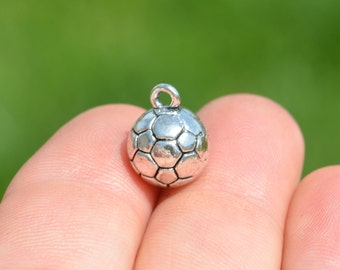 5 Silver Soccer Ball Charms SC1615