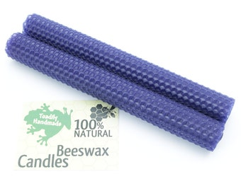 Hand Rolled Beeswax Honeycomb Tapers in Navy Blue Available in 6 Heights