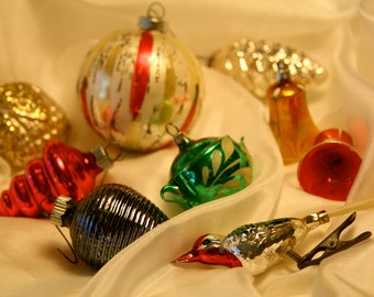 NINE Vintage Hand Blown Glass Christmas Ornaments