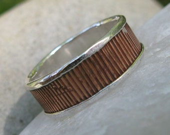 Patterned Copper on Silver Ring