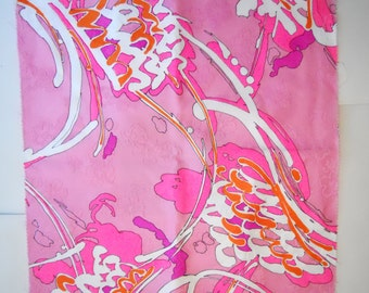 """PSYCHEDELIC EMBROIDERED FLORAL pink vintage 1960s cotton blend material, 17.25"""" inches square"""
