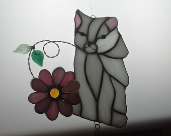 Cat with Flower  Wind Chime in Stained Glass