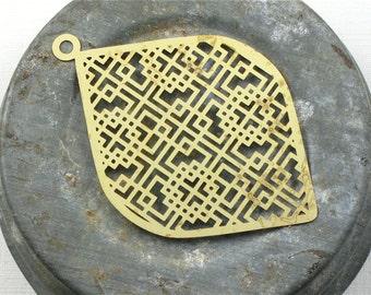 8 brass Geometric Teardrop earring drops or pendants . 57mm x 38mm (GT4g) . Please read description