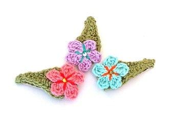 Crochet Flower Hair Clip Set in Pale Teal Coral Lavender