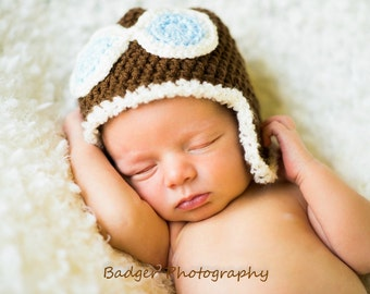 Newborn Brown Aviator Hat Photo Prop, 0 to 3 Month Pilot Baby Hat