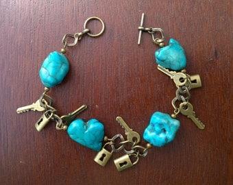 Chunky Lock and Key Turquoise Charm Bracelet
