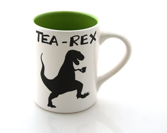 tea-rex mug, t rex, dinosaur mug, gift for tea lover, handmade earthenware kiln fired, large 16 oz coffee mug