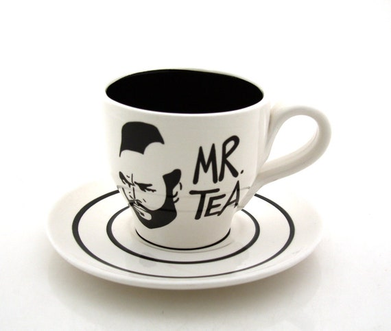 Mr. T Tea Tea cup and Saucer, Black and white, tea cup and saucer, teapot sets, tea cups, pottery and ceramic teacup