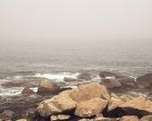 Beach photography, Minimal Modern , Ocean Landscape Photograph, Soft Gray Fog, Gray Beach, North Shore, Rocky Landscape, New England