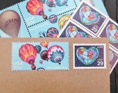 Ballooning .. LOVE .. UNused Vintage Postage Stamps  .. post 5 letters