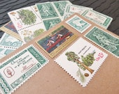 Green Gold .. Vintage UNused Postage Stamps .. to post 5 letters