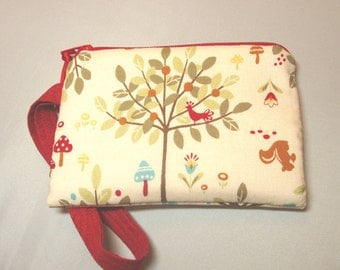 Handmade Padded Wristlet in Woodland Forest Print