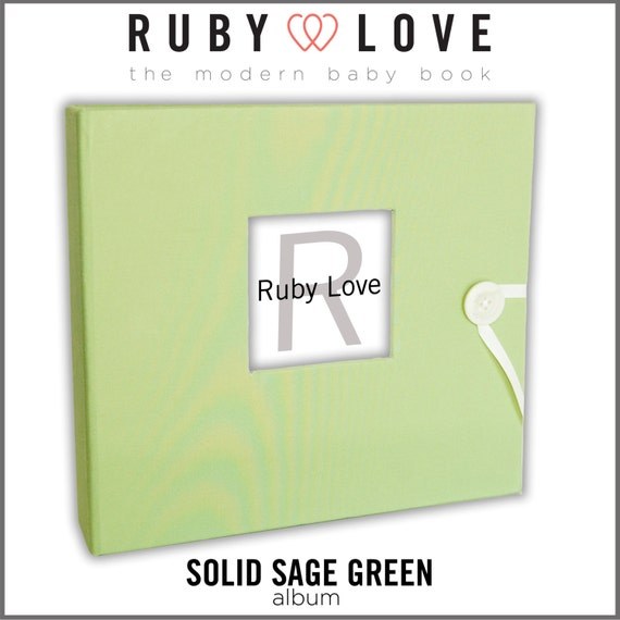 Baby Book . Baby Memory Book . SOLID SAGE GREEN Album . Baby Album for Baby's First Year . Ruby Love Modern Baby Memory Book