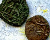 2 UNCLEANED coins from a dig,antique objects, something  curious, antique metal coin, coolvintage, collectibles, patina, old, age, 35K