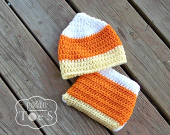 Candy Corn Hat and Diaper Cover - Crochet Diaper Cover Set - Diaper Cover and Hat, Crochet Baby Hat - Candy Corn Baby Hat - Baby Hat Crochet