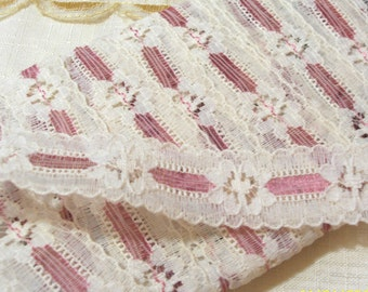 Vintage  Pink  and White Lace - Lace Trim - Lace Edging - Floral Pattern 335 inches  long - 1950 Era