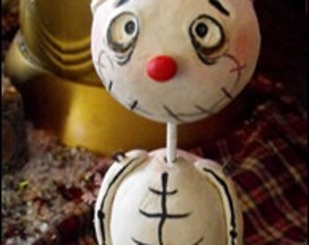 Skelly snow guy with hat Christmas art doll made to order