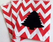 12 Red Chevron Treat Bags with 12 Chalkboard Labels-Kids Christmas Favors, Christmas Tree Chalk Labels
