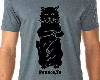 cat shirt - cat tshirt - cat gifts - cat lover gift - cat lover - mens tshirts - animal shirt -funny tshirts -cat print -POUNCE YO-crew neck