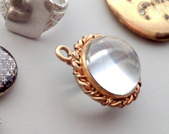 Antique Rock Crystal Locket. Quartz Crystal Pool of Light. Edwardian.
