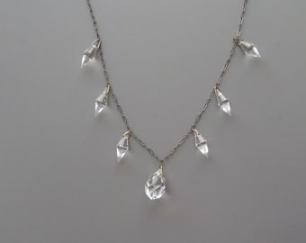 Art Deco Necklace. Crystal Glass Drops. Peanut Chain.
