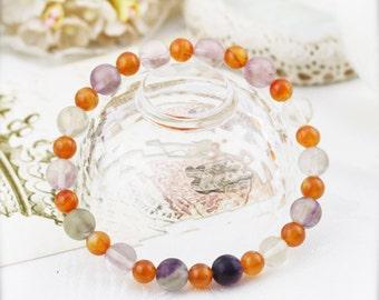 Confidence enhancer (unisex) bracelet -  carnelian and fluorite