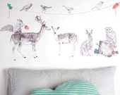 Fabric Wall Decal - Forest Folk (reusable) NO PVC