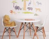 Fabric Wall Decal - On Safari (reusable) NO PVC