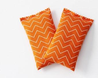 Orange Chevron Lavender Sachets, Apartment Decor, Scented Drawer Sachets, Air Freshener