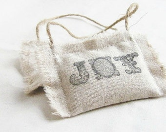 Rustic Fabric Christmas Ornaments, Fragrant Balsam Scented Christmas Decorations, Joy