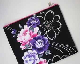 SALE - Cherry Blossom & Camellia iPad Case/ Zipper Pouch