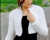White Wedding Bridal Shrug Bolero Cape Jacket, Bridal Cover Up, Handmade Knit, No Buttons, Medical Scrubs, Made to Order