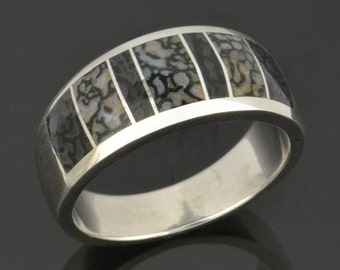 Gray Dinosaur Bone Wedding Ring In Sterling Silver, Dinosaur Bone Wedding Band, Bone Ring by Hileman