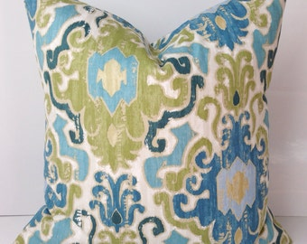 Decorative Throw Pillow Cover Ikat Blue Green Pillow Accent Cushion