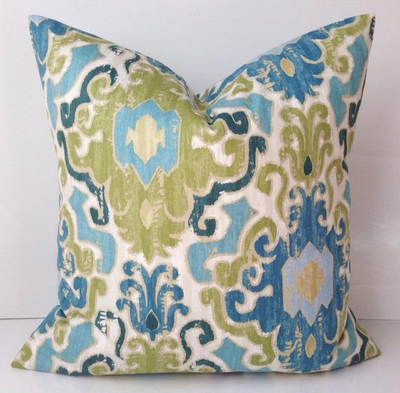 Ikat Throw Pillow Covers : Decorative Throw Pillow Cover Ikat Blue Green Pillow Accent