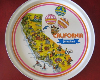 Vintage Disneyland Serving Tray, California State Map - Minnie & Mickey Mouse
