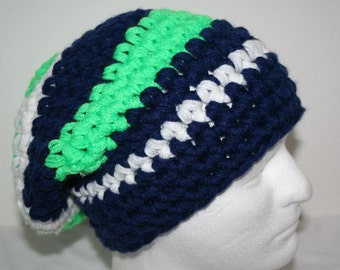 Super thick striped slouch hat  - electric green, navy blue and white - Seattle Seahawks colors