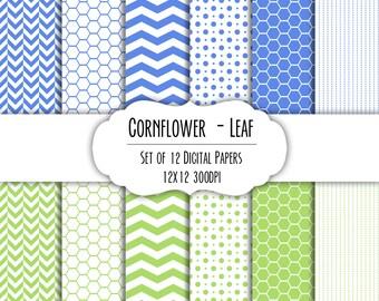Cornflower Blue and Leaf Green Digital Scrapbook Paper 12x12 - Set of 12 - Chevron, Hexagon - Instant Download - Item# 8183