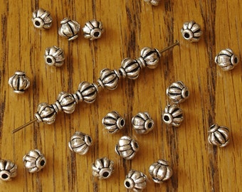 Round Wide Fluted Pewter Beads Antiqued 6mm - 20