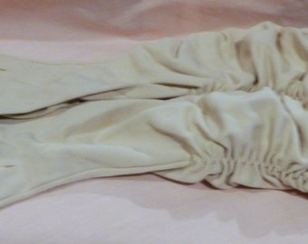 Vintage Beige or Tan Long Gloves with Elastic in Sides to make them Gathered