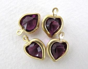 Vintage Bead Swarovski Amethyst Heart Rhinestone Crystal Charm vgb0771 (4)