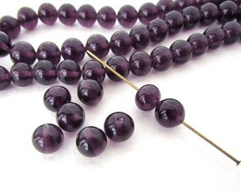 Vintage Japanese Beads Amethyst Glass Rounds 8mm vgb0803 (10)