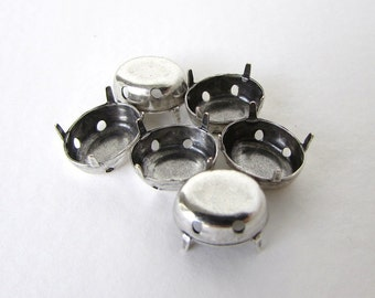 Prong Setting Antiqued Silver Ox Oval Rhinestone Sew On Closed Back 10x8mm set0295 (6)