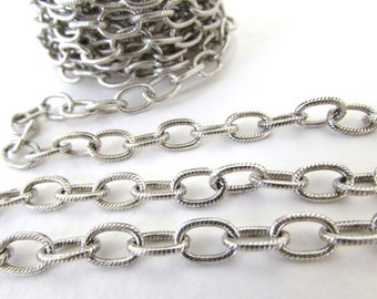 Antiqued Silver Ox Chain Cable Textured Oval Open Links Nunn Design 9x6mm chn0145 (1 foot)