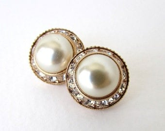 Vintage Glass Rhinestone Buttons Gold Pearl Shank Czech 16mm but0261 (2)