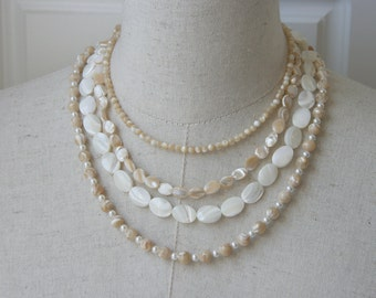 Layered Multi Strand  Mother Of Pearl Necklace, Latte White Cream Beige Neutral Colors