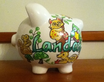 Personalized Piggy Bank Baby Forest Critters Design