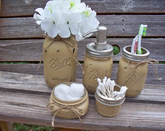 Painted Mason Jar Bathroom Set. Painted and distressed mason jars, rustic bathroom decor.
