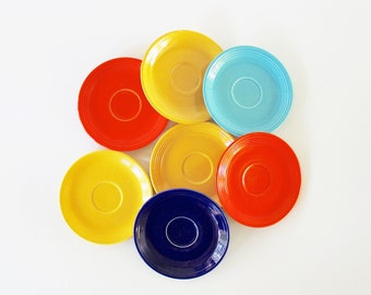 Fiesta Time - Vintage Fiestaware Plates - Homer Laughlin - Geometric - Saucers - Orange - Yellow - Blue - Rainbow - Summer - Kitchen - Party